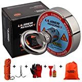 ULIBERMAGNET D60L Magnet Fishing with 400lb Pull-Force N52 Neodymium Magnets with Rope,Claw,Gloves,Glue,Plastic Shovel and Bag for Fishing and Magnetic Recovery Salvage Tools Under Water