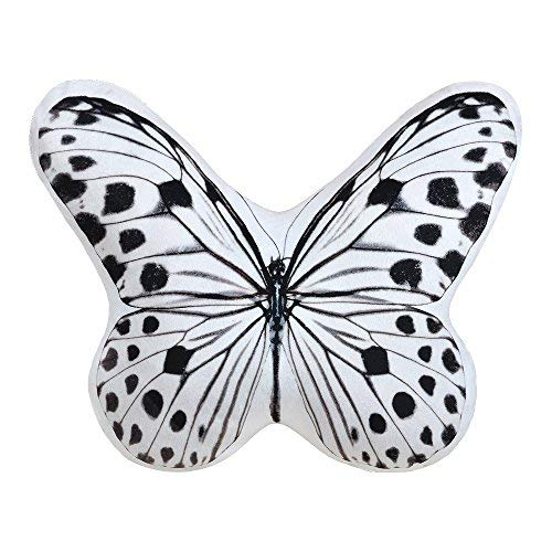 JWH 3D Animal Accent Pillow Lifelike Butterfly Shape Cushion Stuffed Super Soft Short Plush Toy Decorative Home Bed Living Room Car Chair Children Gift 13 x 15 Inch White