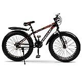 Tazzaka Bicicleta de Montaña, Bici para Hombre Adulto Mujer con Rueda Gorda 26 * 4.0 Pulgadas, Shimano 21 Velocidad Variable Bike, Marco de Acero de Alto Carbono y Freno de Disco para Playa Nieve