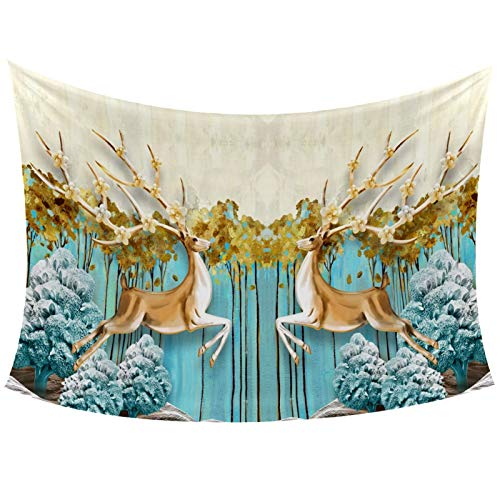 3D Tall Thin Trees Yellow Leaves Mirrored Deer Tapestry Wall Hanging for Home Wall Decorative for Living Room Bedroom Dorm Decoration, 60x40 Inches