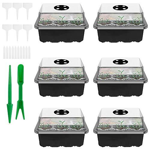 You's Auto 6 Stücke Zimmergewächshaus Anzuchtkasten,setzling Starter tabletts mit kuppel,Mini Gewächshaus Sämlings Vermehrungskit, Pflanzenetiketten und Handwerkzeug Kit