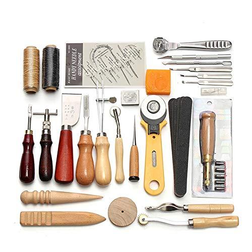 CHSEEO Artesanía del Cuero, 37 Piezas Juegos y Kits de Costura Kits de Repujado de Cuero Herramientas de Coser Perforadora de Cuero para Manualidades DIY Cuero Artesanía #3