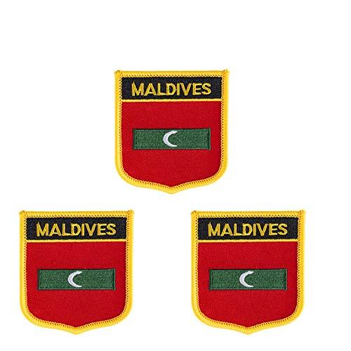 3 x Malediven-Flagge bestickt Shiled Form Bügelbild Applikation zum Aufbügeln oder Aufnähen.