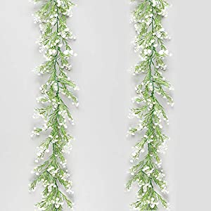 MELAJIA Artificial Plants Vines Baby Breath Flower Hanging 2pc Fake Greenery Plant