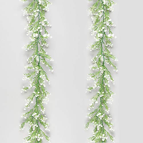MELAJIA Artificial Plants Garland 5.75Ft Baby Breath Flowers Vines Real Touch Gypsophila Hanging for Wedding Home Outdoor Garden Decoration (White)
