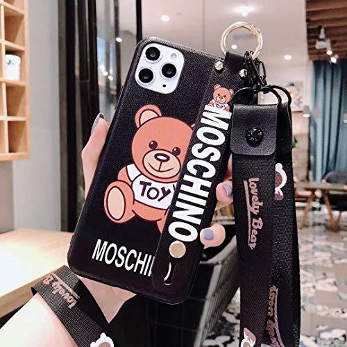 HeavenBird iPhone 11 Pro Max Case Moschino Toy Lovely Bear Cartoon Cute Beautiful Lanyard Wristband Holder iPhone case(Moschino Toy Lovely Bear)