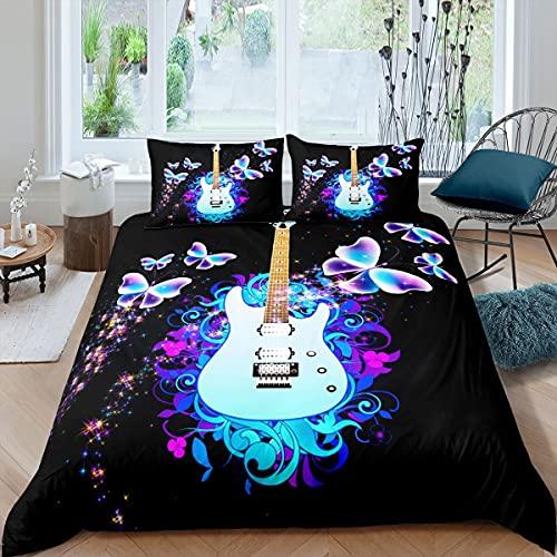 Juego de funda de edredón para guitarra musical, tamaño King, diseño de mariposa, acuarela, con 2 fundas de almohada, funda de edredón de microfibra suave para regalo para niños y adolescentes