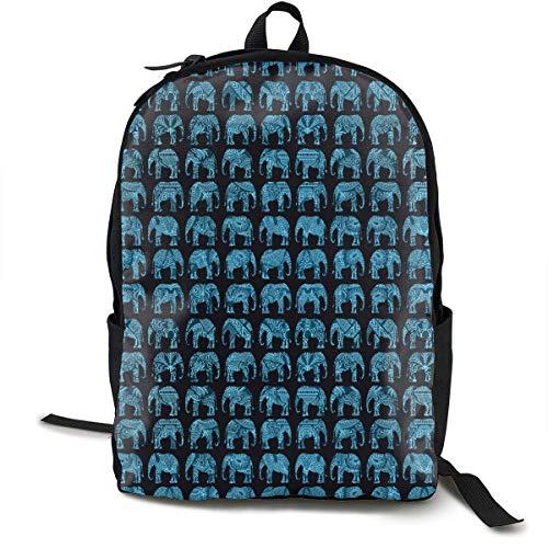 DLing Mode Daypack große Kapazität Anti-Diebstahl-Mehrzweck-Bookbag Rucksack zum Klettern Arbeit Fahrrad - indische Kultur Elefanten, Reisen Wanderrucksack