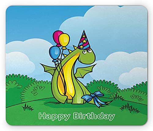 Printawe Dinosaurier Party Mauspad, T-Rex mit Luftballons Hut am Park Tag Geburtstag Freund drucken, Rechteck rutschfest Gummi Mauspad, Standardgröße, Blau Farn grün