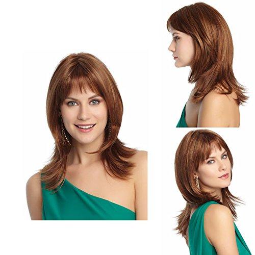 ahom (perruque Noble Perruques, européenne Fashion Girl perruque longue cheveux Frange l'air complet Haut Faux Cheveux
