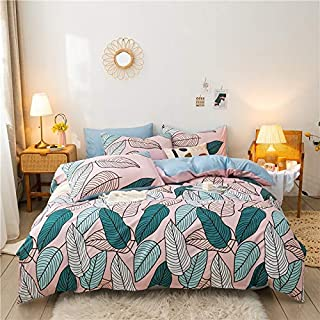 ZOUJIN 4 in 1 Fitted Bedsheet Quilt Cover Set with Pillowcase Flower colorful series Super single/Queen/King Size (Size : ...