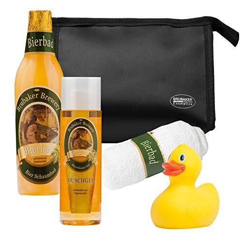 BRUBAKER German Beer Bath Gift Set - Shower Gel, Bath Foam, Towel & Bag - Gift for Men