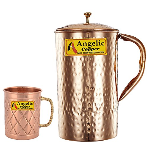 Angelic Copper Jug with Designer Cup, Brown