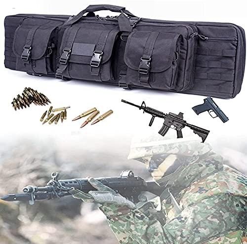Bolsa para Doble Rifle, Bolso Táctico de Oxford Impermeable para Fusil Escopeta Larga, Compartimiento con Cierre para Cargador Munición Accesorios (Size : 118cm/46.4inch)