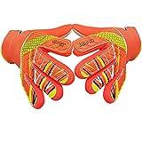 Guantes de portero de fútbol para niños y jóvenes, con palma de látex antideslizante en relieve y parte trasera de poliuretano suave (naranja, 5)
