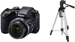 Nikon Coolpix B500 Kamera schwarz & Amazon Basics Leichtes Stativ, bis 1,52 m, inkl. Tasche, mit 3 Wege Schwenkkopf und Wasserwaage