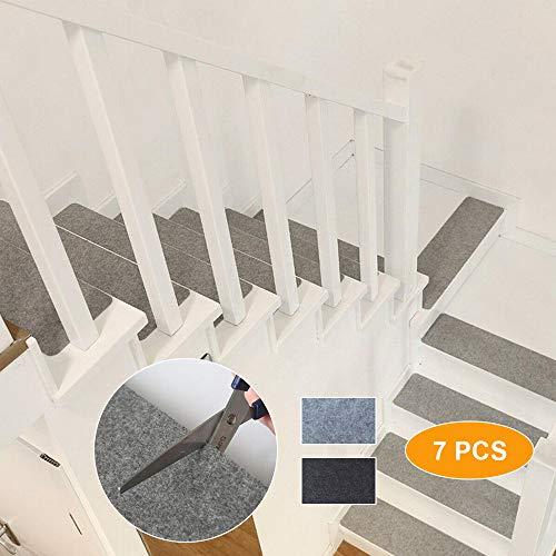 TOPAUP Topup Lot de 7 Tapis de Marche d'escalier antidérapants Auto-adhésifs pour décoration d'escalier (Gris clair/55 x 20 cm), Gris Clair, 55 x 20 cm/21.65 x 7.87 in
