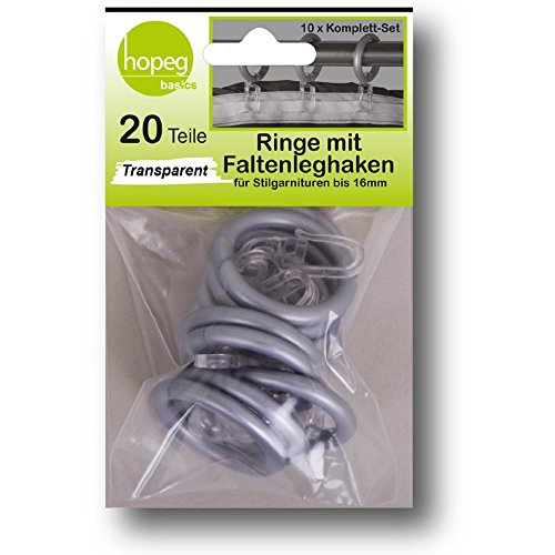 Gardinenringe Ösen grau chrom matt Vorhangstangen 16 mm Gleiter mit Faltenleghaken