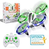 SHARPER IMAGE 2.4GHz RC Glow Up Stunt Drone with LED Lights, Mini Remote Controlled Quadcopter with Assisted Landing, Small Plane for Kids and Beginners, Wireless and Rechargeable