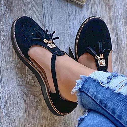 Dames Platte sandalen Enkelbandje Hakken Vintage strand Espadrilles Plateau Loafers Sandalen Kwastje Gesloten teen Uitsparing Comfortabele platte sneakers Instapschoenen met sleehak