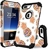 iPhone 8 Plus Case, iPhone 7 Plus case PIXIU Three Layer Heavy Duty Hybrid Sturdy Armor Shockproof Protective Phone Cover Cases for Apple iPhone 8 Plus/7 Plus(Pineapple)