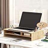LJ Wooden Laptop Stand Riser Multifunction Memory Desktop Organizer Space-Saving Computer Screen 2 Levels Stand Riser for Laptop Office D 38X28Cm (15X11Inch)