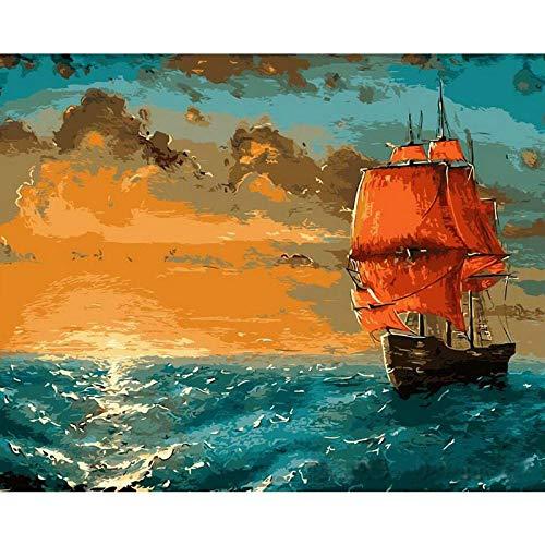 SERTHNY Malen Nach Zahlen,DIY Segelboot Gemalten Meer Szene 40 * 50 cm Füllung Malerei Für Anfänger, Malen Nach Zahlen Set Mit Pinsel Farben Und Leinwand Home Dekorative