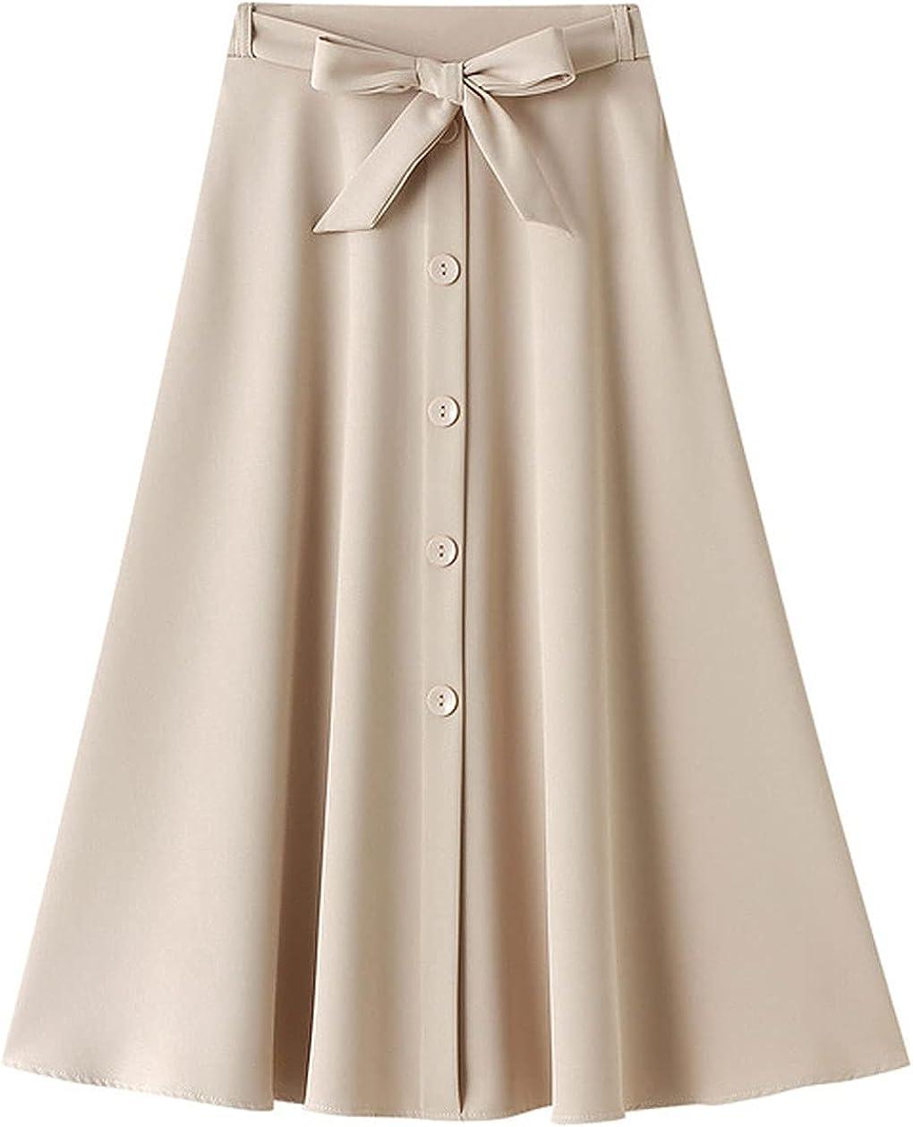 CHARTOU Women's Elegant Elastic High Waist Button Down Bowknot Ruffle A-Line Midi Skirt