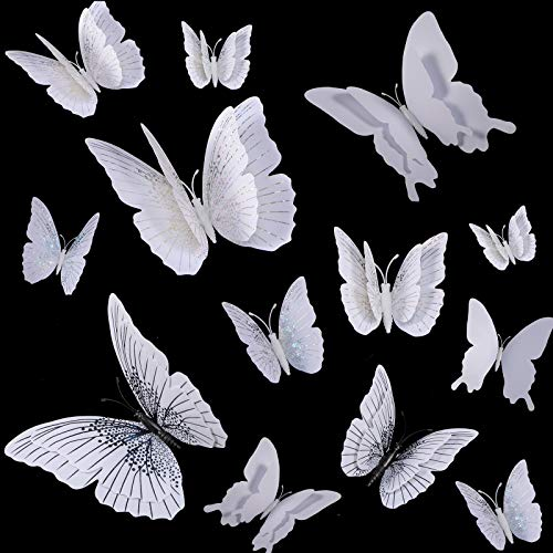 60 Pieces 3D Butterfly Wall Stickers Decals DIY Mirrored Butterflies Ornaments Double Wings Removable Magnetic Butterfly Wall Sticker Decals for Room Home Baby Kids Girls Bedroom Decorations (White)