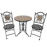 Outsunny Salon de Jardin 2 pers. 3 pièces Ensemble Bistro Style Fer forgé mosaïque 2 chaises + Table Ronde Pliables métal époxy anticorrosion Noir