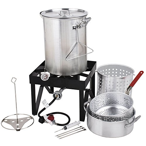 Backyard Pro 30 Qt. Deluxe Aluminum Turkey Fryer Kit/Steamer Kit - 55,000 BTU