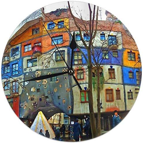 Oh Sweety Hundertwasser House Vienna Circle Wanduhr, Silent Creative Modern Wanduhr Dekorativ für Zuhause, Büro, Schule, Küche (Batteriebetrieben, 9,8 Zoll / 25 cm)