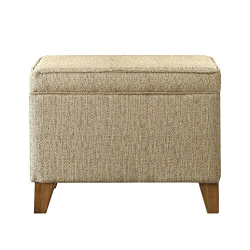HomePop Upholstered Storage Ottoman with Hinged Lid, Tan