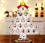 Pulchram Árbol de Navidad de Madera DIY, Colgantes de Navidad Decoraciones Soporte de Árbol de Navidad Desmontable con Adornos Navideños en Miniatura (Blanco, S)
