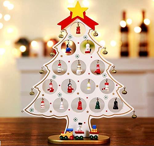 Pulchram Árbol de Navidad de Madera DIY, Colgantes de Navidad Decoraciones Soporte de Árbol de Navidad Desmontable con Adornos Navideños en Miniatura (Blanco, M)