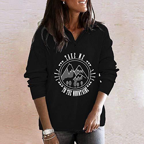 JUTOO Damen Modedruck V-Ausschnitt Langarm Reißverschluss T-Shirt Top Bluse Pullover...