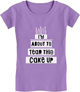 Tstars - Birthday Gift I'm About to Tear This Cake Up Girls' Fitted Kids T-Shirt