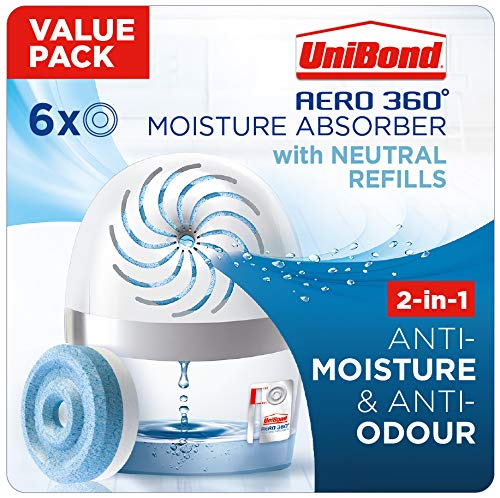 UniBond 2562368 AERO 360º Moisture, Ultra dehumidifier, Helps to Prevent, Mould & Musty Smells, Condensation Absorber, 1 Device incl. 6 Refill tabs 450g, Neutral