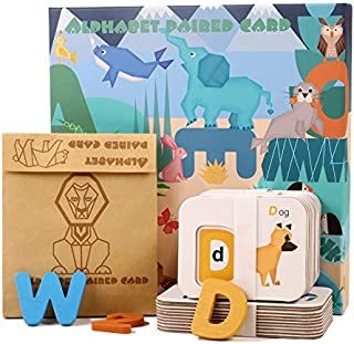 USATDD Flash Cards Alphabets Numbers ABC Wooden Letters Sight Words Animal Matching Puzzle Colors Sorting Game Preschool L...