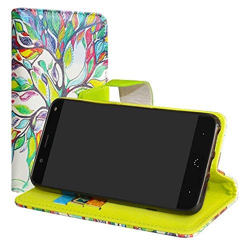 LiuShan BQ Aquaris VS/Aquaris V Hülle, Brieftasche Handyhülle Schutzhülle PU Leder mit Kartenfächer & Standfunktion für BQ Aquaris VS/Aquaris V (5,2 Zoll) Smartphone,Love Tree