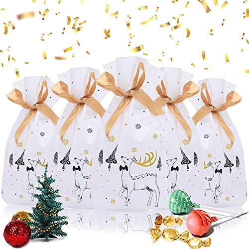 50 Stücke Weihnachten Geschenkbeutel,Geschenkverpackung Taschen,Süßigkeiten Taschen, Weihnachten Süßigkeiten Tüten, Geschenktüten Weihnachten mit Band&mit Kordelzug,Xmas Party Süßigkeiten Packung (B)