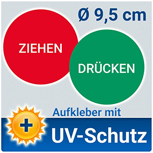 PVC-Aufkleber Türschild Drücken und Ziehen (einzeln), Ø 9,5 cm, mit UV-Schutz Outdoor geeignet, Hinweisschild Folie