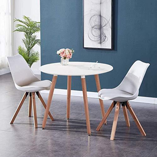 CDFCB Mesa de Comedor y 2 sillas Mesa de Cocina Sillas de plástico Mesa Redonda y sillas de Patas de Madera Maciza 80 cm Blanco y Gris-Todo Blanco_90 x 90 x 75 cm