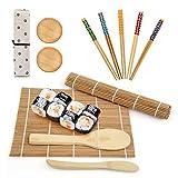LinStyle Kit Sushi, Kit para Hacer Sushi de Bambú 12 Piezas, Sushi Maker Incluye 2 Esterillas, 5 Palillos, 2 Plato Pequeño, 1 Paleta de Arroz, 1 Esparcidor de Arroz, 1 Bolsa para Palillos