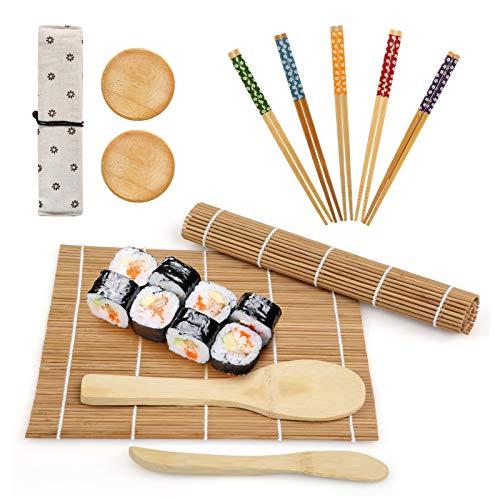 LinStyle Kit per Sushi, 12 Pcs Set per Sushi in Bambù, Kit Sushi Maker, Include 2 Tappetini in Bambù, 5 Paia di Bacchette, 1 Spatola per Riso, 1 Spargisale, 1 Sacco, 2 Petits Plats