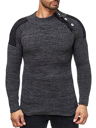 Tazzio 17401 - Maglione da uomo a maglia grossa antracite. M
