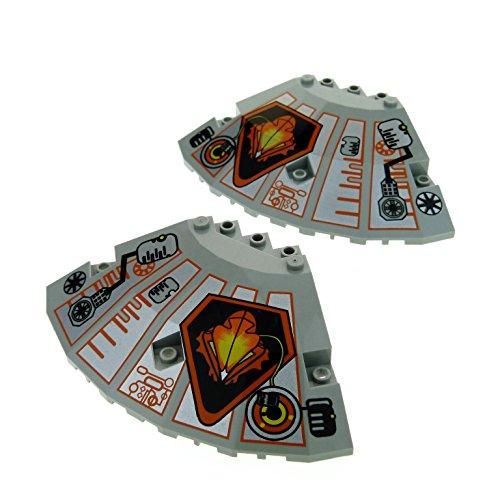 2 x Lego System Tragfläche alt-hell grau 10x10x2 1/3 links und rechts bedruckt Raumschiff Ufo Panele für Set 6915 6975 6900 6999 6979 30117pb05 30117pb01