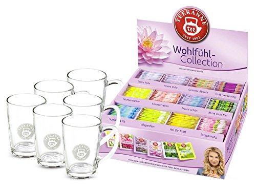 Teekanne Wohlfühl Box mit 6 Teegläsern mit Henkel