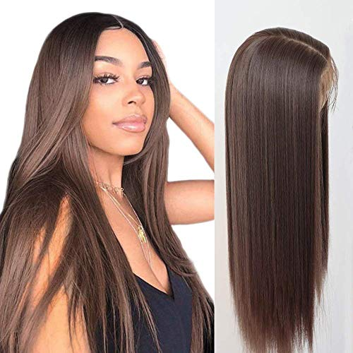 Lovigs Hair Glueless 13x3 Lace Front Wigs Heat Resistant Kanekalon Fiber Synthetic Hair Real Natural Straight Wigs for Women-100% Stylish Brown Wigs (6# Brown 22 Inch)