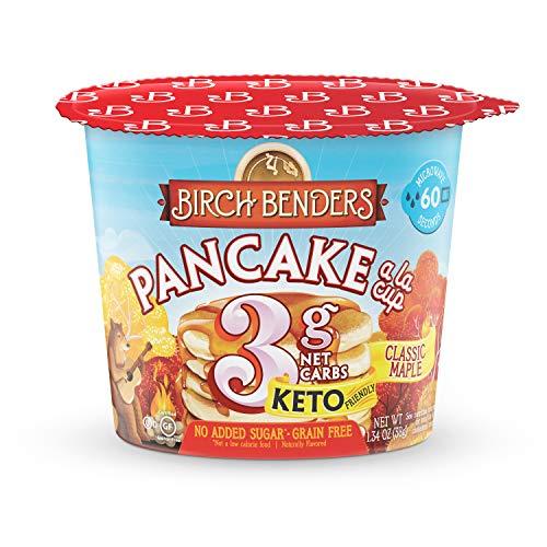 Classic Maple Pancake Cups by Birch Benders, Grain-free, Gluten-Free, Keto friendly, only 4 Net Carbs, Just Add Water (8 Single Serve Cups)